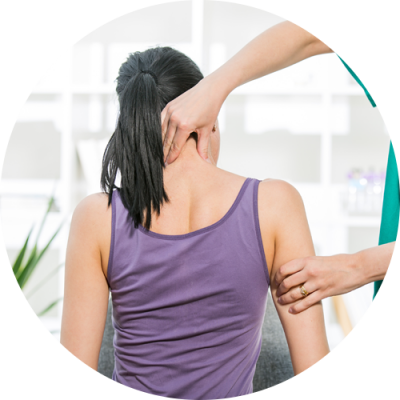 A lady during her neck and back examine
